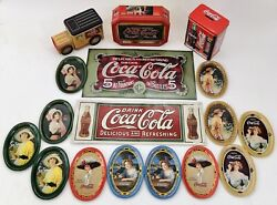 Vintage Coca Cola Metal Advertising Signs, Mini Tin Coin Tip Trays, Bank, And More