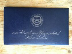 1971-1974 Blue Ikes Eisenhower Uncirculated Silver Dollar, Packaged By Us Mint