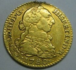 1780 Madrid 1 Escudo Charles Iii Spain Gold Doubloon Spanish Colonial Era