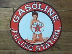 Vintage Texaco Gasoline Porcelain Sign Texaco Gas Station Sign Gas And Oil