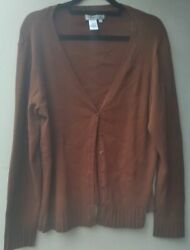 Coldwater Creek Button Front Knit Cardigan Sweater Silk Blend Caramel Size1x New