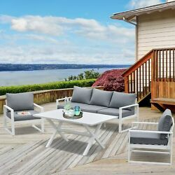 Outsunny Garden Dining Set 5-seater All-weather Outdoor Aluminum 4-piece Patio F
