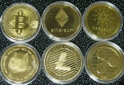 6 Gold Coins Dogecoin Bitcoin Ethereum Ripple Litecoin Doge Crypto Currency Usa
