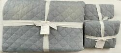 Pottery Barn Belgian Flax Linen Diamond Quilt King And Two Euro Shams Chambray Nwt