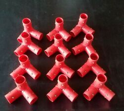 Lot Of 12 Playskool Pipeworks Red 3-way Joint Connector Elbow Corners Vintage