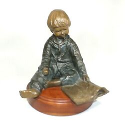 Rare 1989 Jane Rankin 11 Bronze Sculpture Young Boy Reading Limited Edition