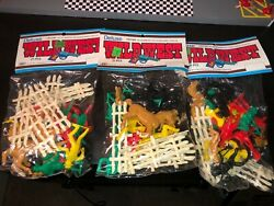 Lot 3 Vtg Tim Mee Toy Wild West 21 Action Figures, Horse Cowboys,indians Usa New