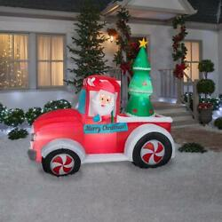 7 Ft. Led Santa Vintage Truck W/ Tree Indoor/outdoor Use Christmas Inflatable