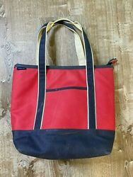 Lands' End Red Navy Blue Medium Waxed Canvas Insulated Zip Top Tote Bag