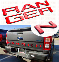 Double Layer Tailgate Insert Letters Fits 2019-2021 Ford Ranger Red Black