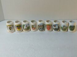 Set Of 9 Vintage Collectible Miniature Beer Steins Made In Germany 2 Shot Stein