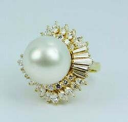 18k Yellow Gold Round Pearl With Round, Marquise And Baguette Cut Diamond Ring