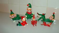 Vintage Miniature Pixie Rubber Plastic Set Of 6 Figurines Made In Hong Kong