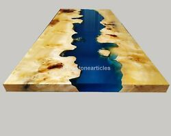 Mappa Burl Blue Resin River Acacia Wood Dining Conference Table Epoxy Home Décor