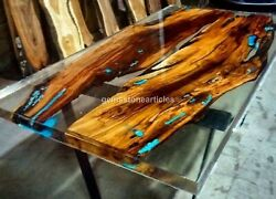 Clear Resin Dining Conference Table Top Handmade Acacia Wooden Clear Patio Dandeacutecor