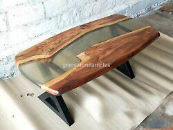Clear Resin Sofa Antique Table Top Natural Solid Acacia Wooden Interior Décors