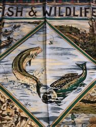 Collectors Vintage And03992 Wildlife And Fishing Silk Scarf