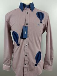 Nwt New Harmont And Blaine Men's Narrow Fit Hot Air Balloon Shirt Sz Large L A4