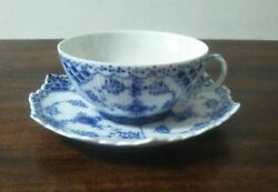 Royal Copenhagen Blue Flute Full Lace Large Tea Cup And Saucer Rare Great Item