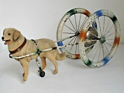 Antique Dog Pull Bell Toy Large Size 21 Long German C. 1900