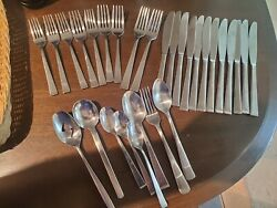 28 Towle Arctic 18/8 Stainless Flatware Set Good Condition One Owner See Pics