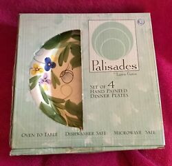 Palisades By Laurie Gates 2001 Bees And Flowers 11andrdquo Dinner Plates Set Of 4 New