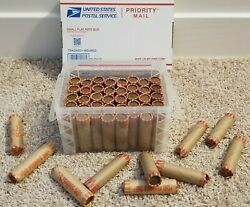 2500 Copper Lincoln Cents Pennies - Full Box 50 Rolls 1959-1982 Hand Rolled 95