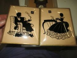 Antique Pair Of Silhouette Framed Pictures Beveled Glass
