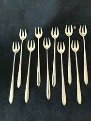 Set Of 10 Vintage And Co.sterling Oyster Forks Faneuil No Mono Pro Polish
