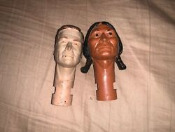 marx Johnny West Cowboy And Indian Heads For Parts And Repair