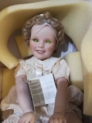 1996 Haunted Shirley Temple Porcelain Toddler Green Eyed Doll, Original Box, Obo