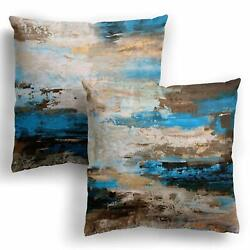 Abstract Throw Pillow Covers 18 x 18 Pack of 2 Turquoise Grey Brown Farmhouse...