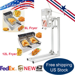 Commercial 3l Spanish Churros Machine W/ 6l And 12l Electric Countertop Deep Fryer