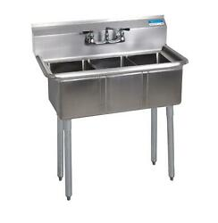 Bk Resources Bks-3-24-14 3 Compartment Stainless Sink W/ 24 X 24 X 14d Bowls
