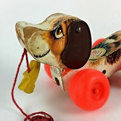 1965 Fisher Price Little Snoopy Dog Pull Toy Wooden Wood 693 Shoe Vtg Toy Gift