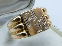 Superbe Grande Bague Chevaliere Tank Art Deco Argent Massif And Or Taille 63