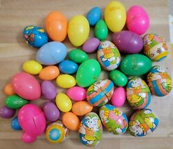 1960s Vintage Lot Of 36 Metal And Plastic Easter Egg 9 Japan Tin Lithos Candy Eggs