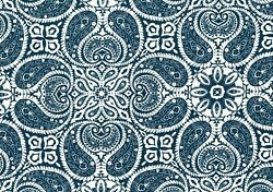 5 Yds Magnolia Home Fabric Stan Cathell Navy White Paisley Drapery Upholstery