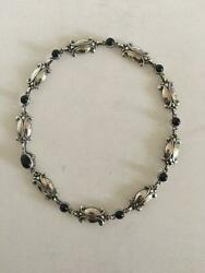 Georg Jensen Sterling Silver Necklace No 15 With Black Onyx