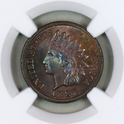 1887 Pf64 Bn Ngc Indian Head Penny Proof Example Superb Eye-appeal