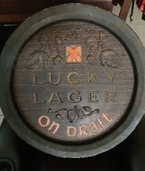 Rare Vintage 1960and039s Lucky Lager Barell Beer Sign Plastic Breweriana 18 Across