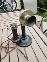 Antique Stromberg Carlson Nickel Plated all orginal Candlestick Telephone