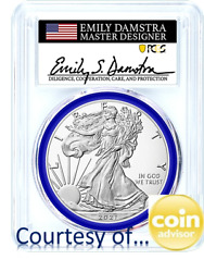 2021 Silver Eagle T2 Pcgs Ms70 Fs Emily Damstra Hand Signed, Blue Gasket W 1k