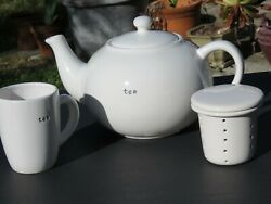Pottery Barn Coffee House Large White 8-10 Cup Teapot, Tea Cup And Infuser