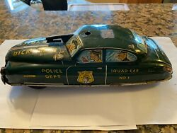 Vintage Marx Pressed Metal Litho Dick Tracy Squad Friction Car N0 1 6 3/4 Long