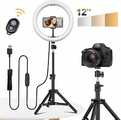 12 Led Selfie Ring Light With Tripod Phone Holder Stand For Makeup Live Stream