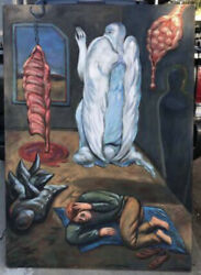 """Frank Gutierrez Painting Surrealism Abstract Modernism Chicano 62"""" X 42"""""""