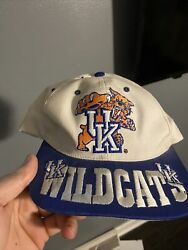 Vintage 1990s Kentucky Wildcats Snapback Hat Cap Uk Spell Out Banned Logo New Ds