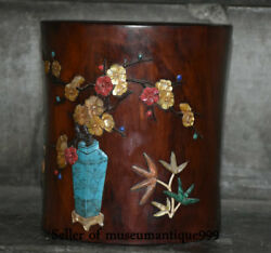19cm Old Chinese Redwood Inlay Shell Dynasty Flower Words Brush Pot Pencil Vase