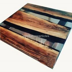 Epoxy Table With Clear Resin River Custom Table Acacia Wooden End Table Decor